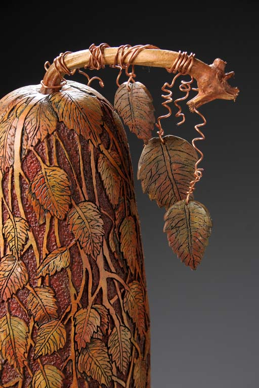 Hand Carved Gourd by Marilyn Sunderland